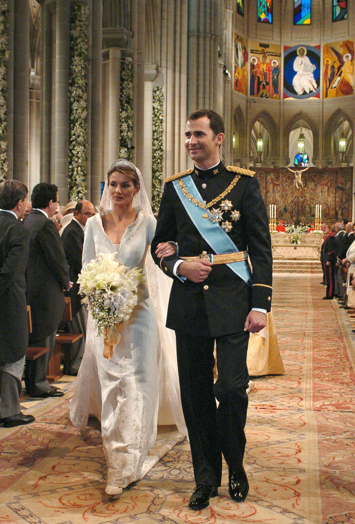 Spain's Crown Prince Felipe tied the knot with Letizia Ortiz at Madrid's Almudena Cathedral in May 2004.