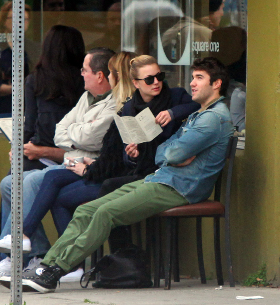 Emily VanCamp and Joshua Bowman waited for a table.