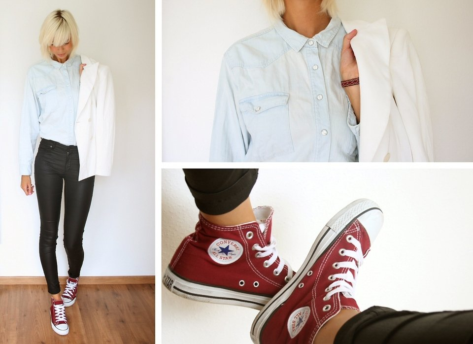 Let the white blazer act as the sophisticated finish on a laid-back Converse and denim button-up take.  Photo courtesy of Lookbook.nu