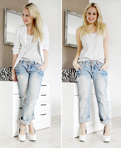 Keep it casual with rolled-up boyfriend jeans and your favourite white tank.  Photo courtesy of Lookbook.nu