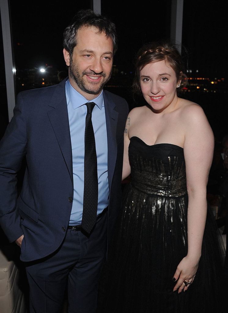 Judd Apatow posed with Lena Dunham at HBO's Girls premiere in NYC.