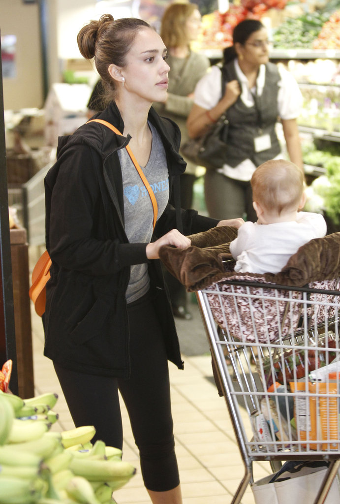 Jessica Alba pushed Haven Warren in the shopping cart on a grocery shopping trip to Whole Foods in LA.