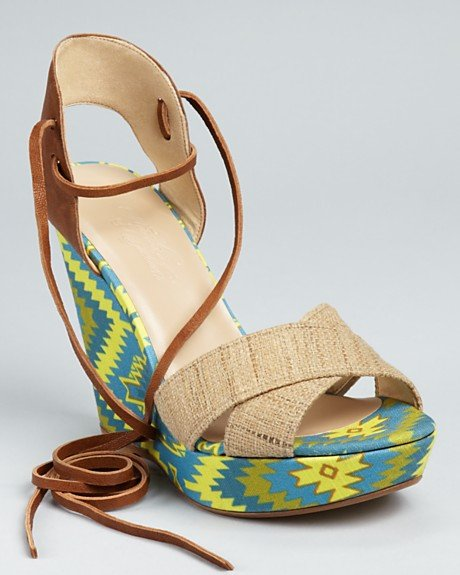 Capitalize on the season's call to tribal wear with this bold-printed pair.  Theodora & Callum Bali Wedges ($335)
