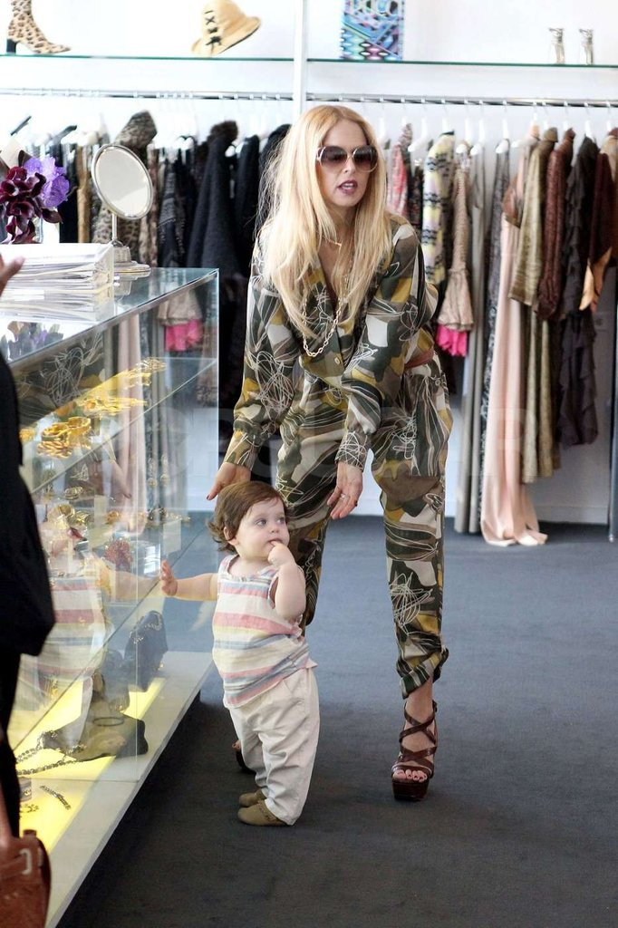 Rachel Zoe dressed son Skyler in a striped tank top and khakis for their shopping trip in West Hollywood.