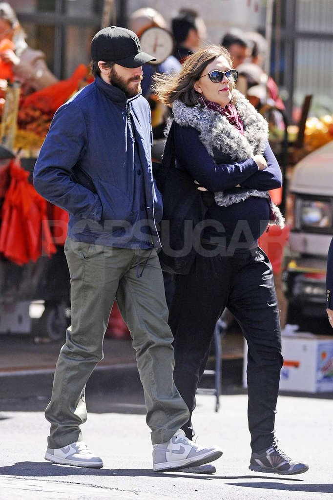 Maggie Gyllenhaal and Jake Gyllenhaal took a walk around NYC together.
