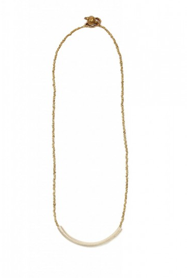 This silver tube necklace is one of our favorite pieces. Simple yet modern.  Elsabet: Single Silver Tube Necklace ($52)