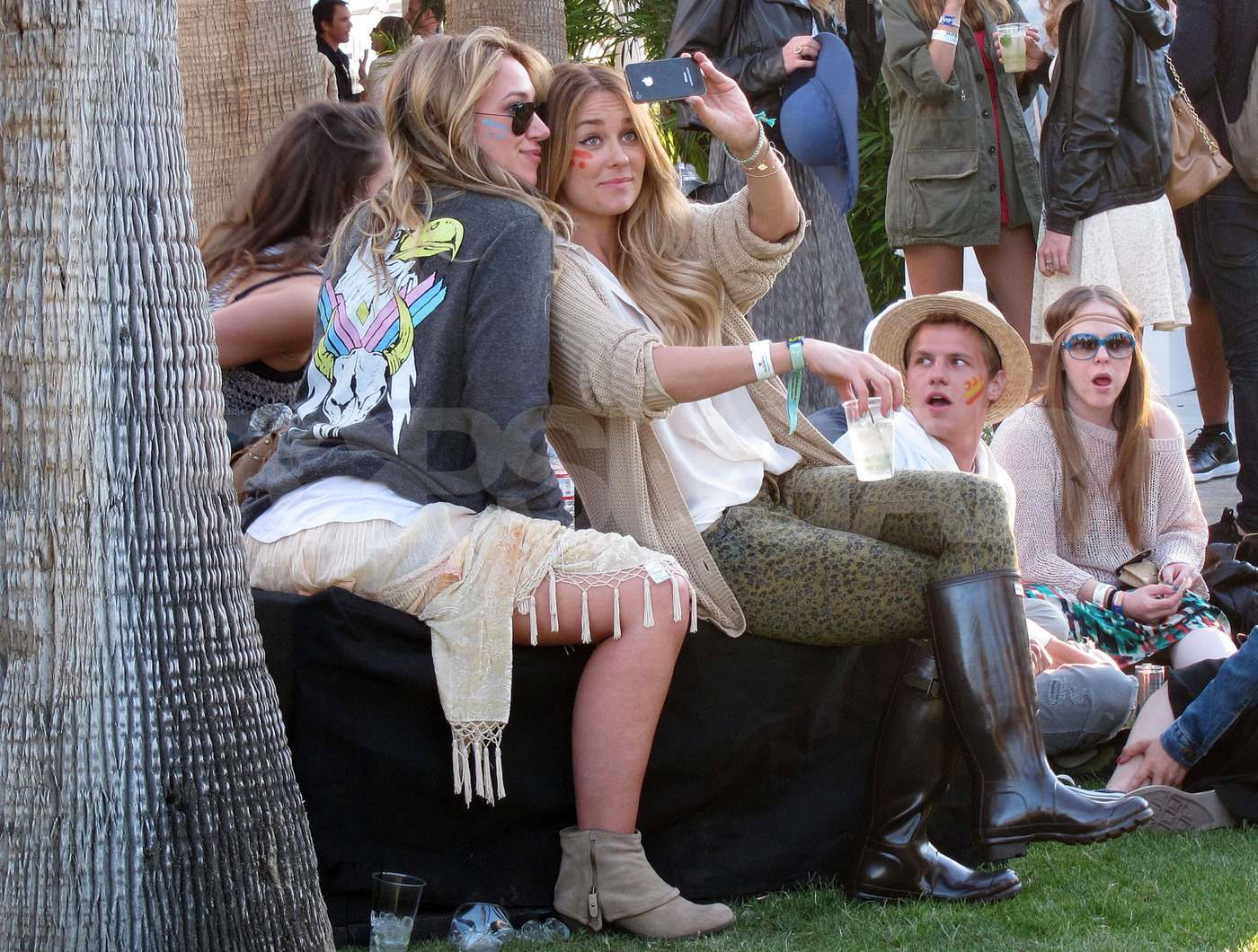 Lauren Conrad and Haylie Duff snapped a picture at the festival on Saturday after Lauren lounged poolside at Lacoste's bash.