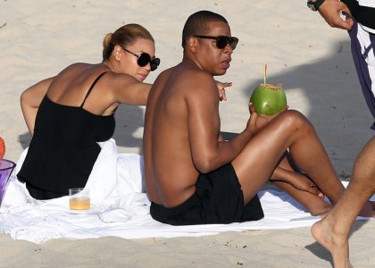 Beyonce and Jay-Z relaxed on the beach in St. Barths, France on April 9, 2012.