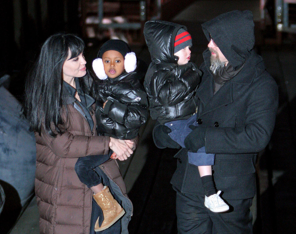 In December 2009, Angelina Jolie and Brad Pitt took daughters Zahara and Shiloh around NYC.
