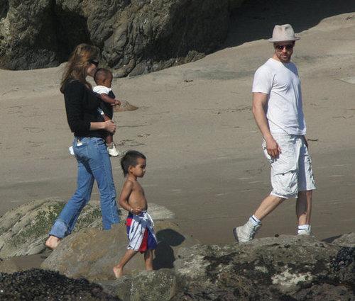 Angelina Jolie and Brad Pitt took Maddox and Zahara to the beach in Malibu in October 2005.