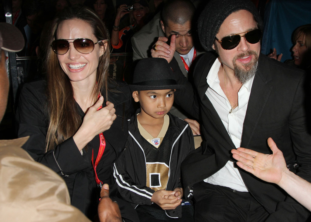 Angelina Jolie and Brad Pitt took Maddox to the Super Bowl in Miami in February 2010.