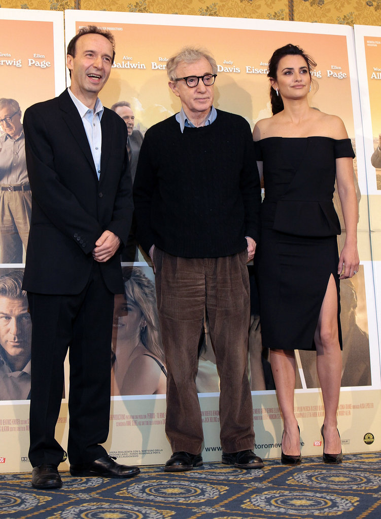 Woody Allen, Penelope Cruz and Roberto Begnini greeted the press and promoted their new film in Rome.