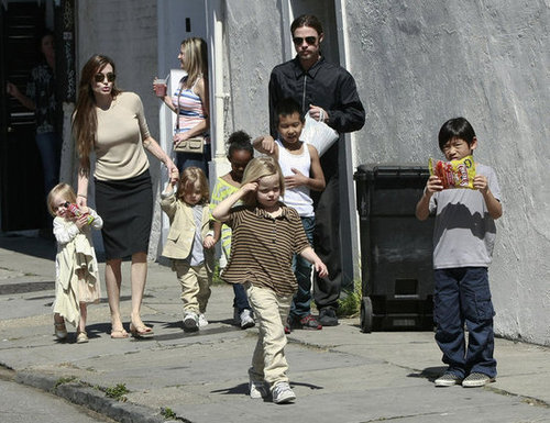 The entire Jolie-Pitt brood went for a walk together during a stay in New Orleans in March 2011.