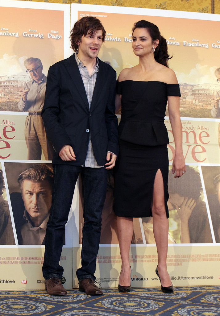Penelope Cruz and Jesse Eisenberg posed together for the press in Rome.