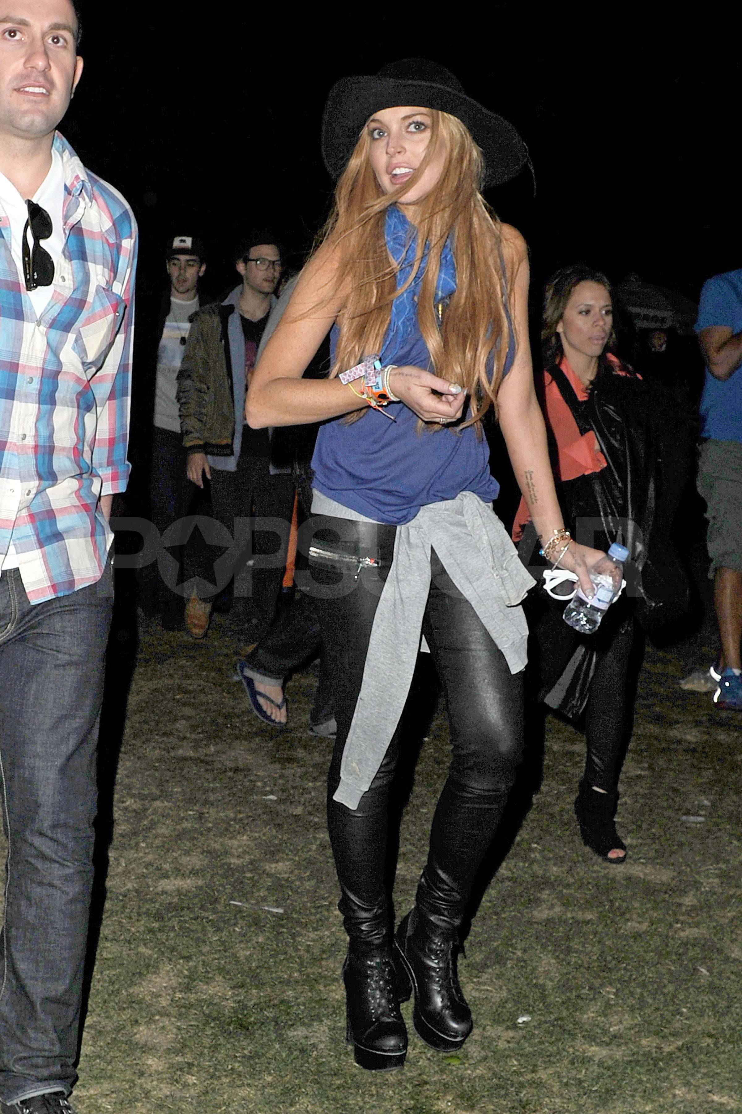 Lindsay Lohan let her hair down for the first night of festival fun.