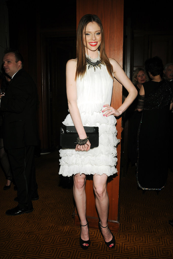 Coco Rocha wore a white ruffled number to the Grand Chefs Dinner in NYC.