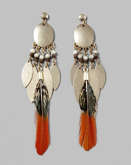 These statement earrings combine metal leaf tassels and real feathers for an exotic look that will look fabulous with a simple tank dress. Chico's Lola Drop Pendant Earring ($39)