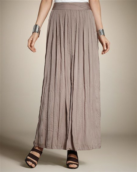 This crinkled pleated maxi offers plenty of movement and casual appeal to romp around the city in and would be great with the aforementioned olive green tank. Silky Crinkle Meleah Skirt ($50)