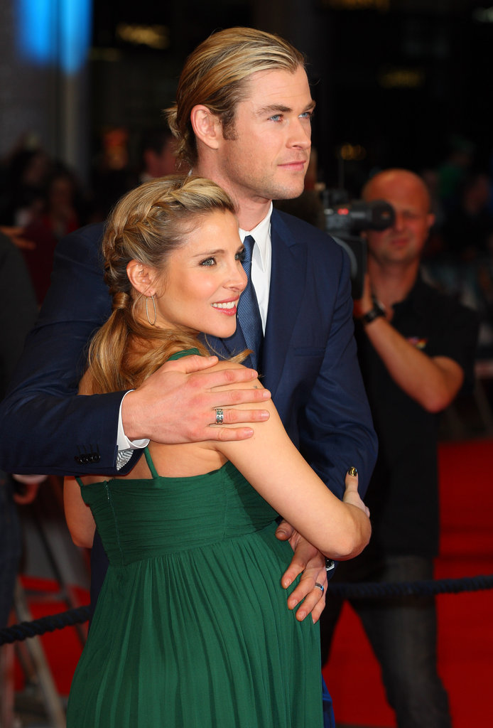 Chris Hemsworth stayed close to his pregnant wife Elsa Pataky during the premiere of The Avengers in London.