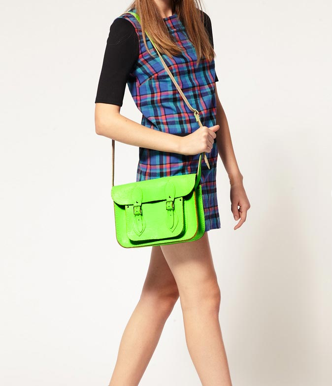 """The bright neon green and cracked leather detailing give this satchel a modern twist to a classic style. Cambridge Satchel Company Exclusive to Asos 11"""" Green Fluro Cracked Leather Satchel ($182)"""