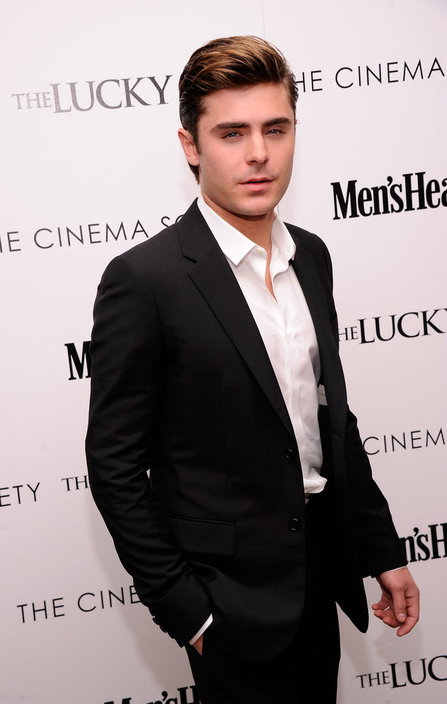 Zac Efron looked dapper at the Cinema Society and Men's Health screening of The Lucky One in NYC.