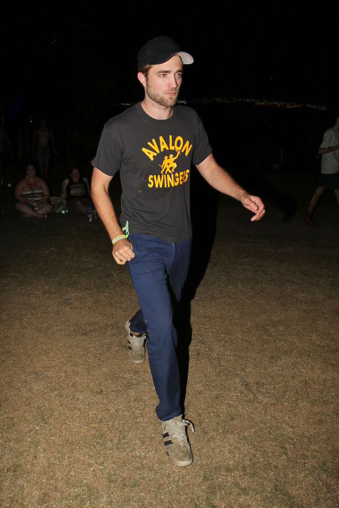 Robert Pattinson wore a black t-shirt and hat to 2012 Coachella's second weekend.
