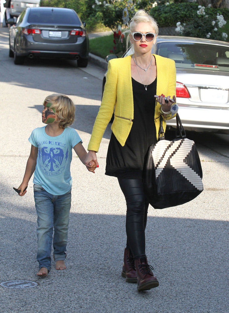 Kingston Rossdale got his face painted at a birthday party in LA with mom Gwen Stefani.