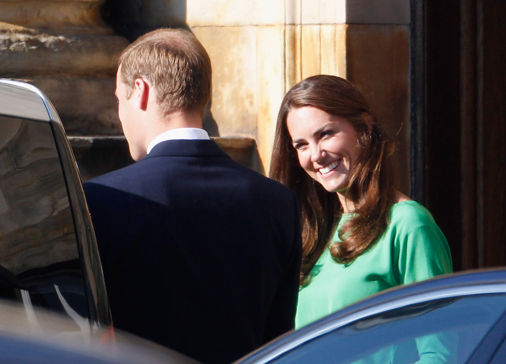 Kate flashed William a smile at Mike Tindall and Zara Phillips' pre-wedding party in July 2011.