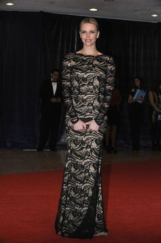 Charlize Theron looked gorgeous in an elegant black dress.