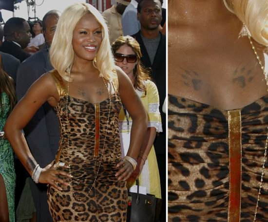 Rapper Eve became known for her breastbone paw prints.