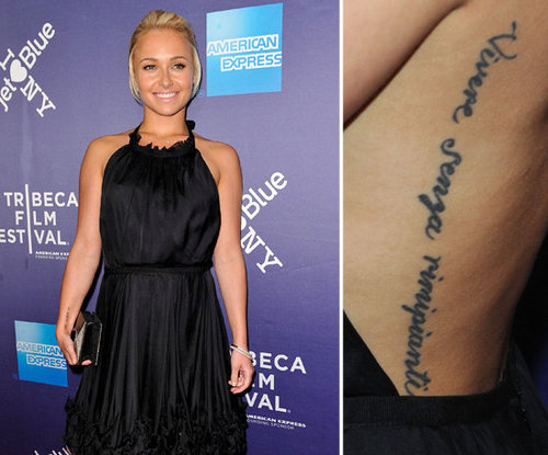 "Hayden Panettiere accidentally misspelled an Italian-language tattoo on her back. It's supposed to be a direct translation of the phrase ""to live without regrets."""