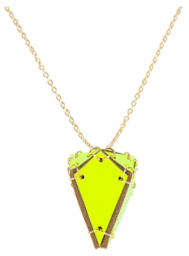 """""""This neon necklace is the perfect complement to a slouchy gray tee and white skinny jeans (my Spring uniform) but will also add a pop of color to an LBD."""" — Brittney Stephens, assistant editor  Eaburns Diamond Pendant Necklace ($83)"""