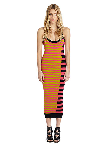"""""""I've officially lost the battle to stop buying stripes; I can't help it! This midi dress is perfect for the season, thanks to its bold color combos and sexy racerback. I'll be wearing it with flat gladiator sandals and my favorite Panama hat.""""  — Brittney Stephens, assistant editor  Nicole Miller Artelier Diagonal Stripe Midi Sweater Dress ($385)"""