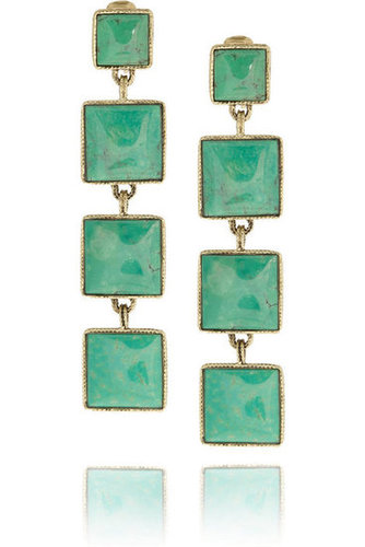 Aurélie Bidermann | Cherokee gold-plated turquoise clip earrings | NET-A-PORTER.COM