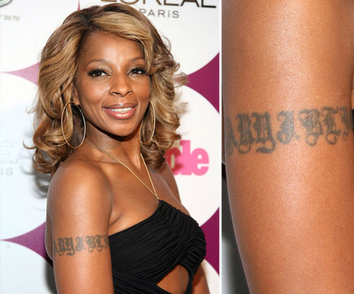Mary J. Blige has her own name inked on her right arm.