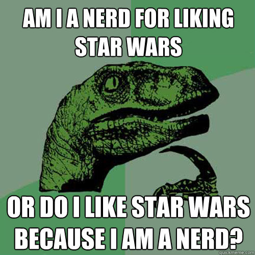"""The Philosoraptor meme lets any user ponder why things are the way they are, dino-style. BTW, Philosoraptor, I think the answer is """"yes"""" to both your questions."""