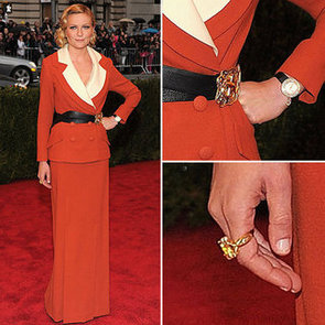 Pictures of Kirsten Dunst in Red Rodarte Blazer + Dress on the Red Carpet at the 2012 Met Costume Institue Gala