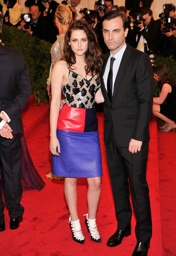 Kristen Stewart stayed close with Balenciaga designer Nicolas Ghesquiere at the Met Gala.
