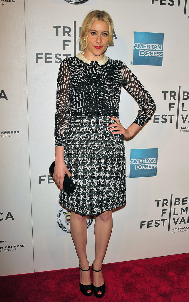 At the 2012 Tribeca Film Festival, Greta worked mixed prints in a totally sweet and demure way.  6855727