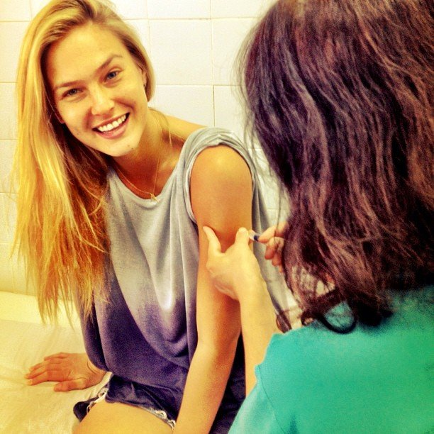 Bar Refaeli got shots before taking a trip to Africa.  Source: Instagram user iambarrefaeli