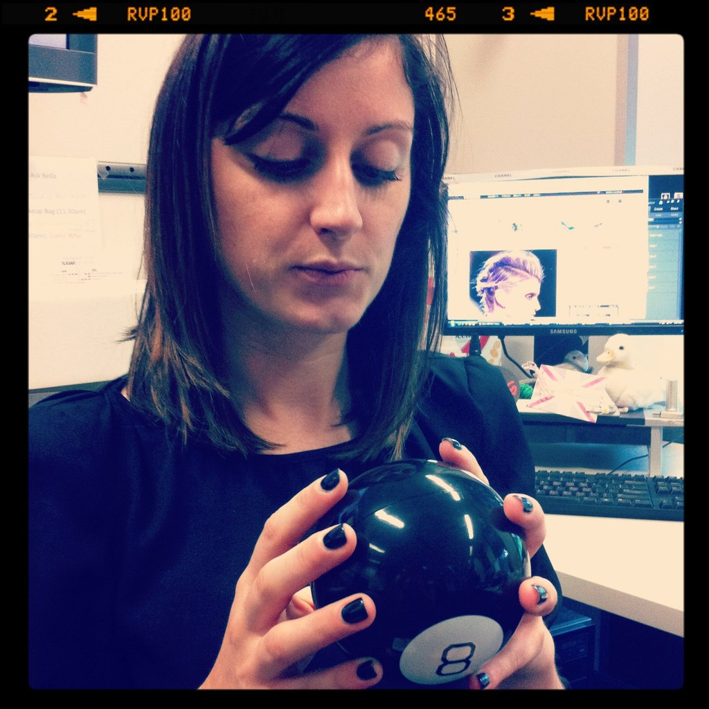 Sarah was delivered a Magic 8 ball and immediately started asking questions about future husbands and the like.