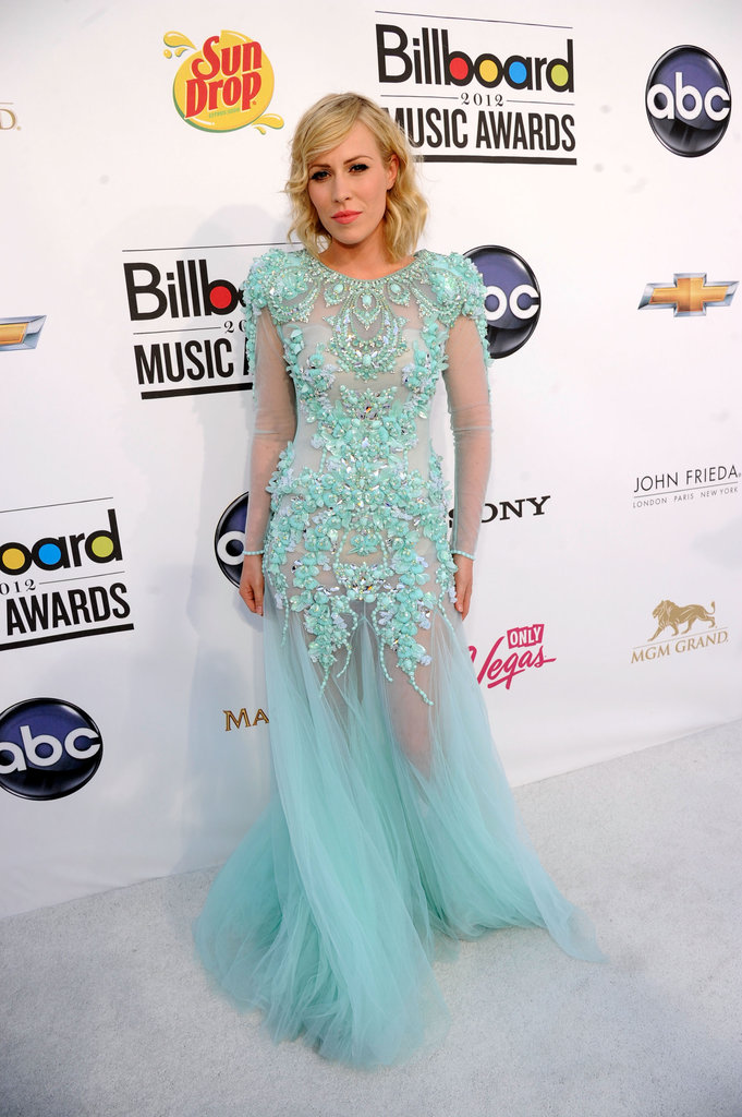 Natasha Bedingfield stepped out in a pastel turquoise creation that was both ultrasheer and embellished — a slick way to highlight two of the season's most beloved trends.