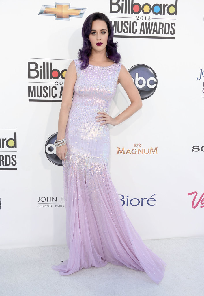 Channeling purple hair color, Katy Perry chose a soft (and sparkly) lavender Blumarine gown for the Billboard Music Awards.