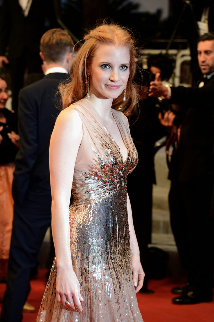 A closer look at the gorgeous sequin detail on Jessica Chastain's Gucci dress.