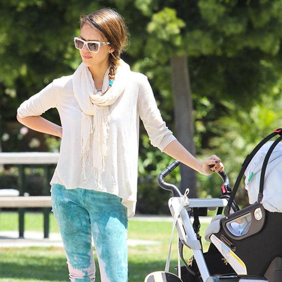 Jessica Alba Turquoise Tie-Dye Jeans