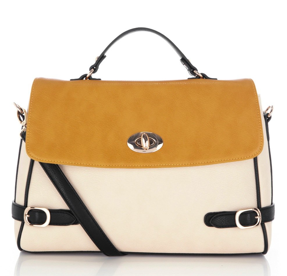 Add a sophisticated colorblock to your office attire via this saffron-hued tote.  Warehouse Colorblock Satchel ($68)