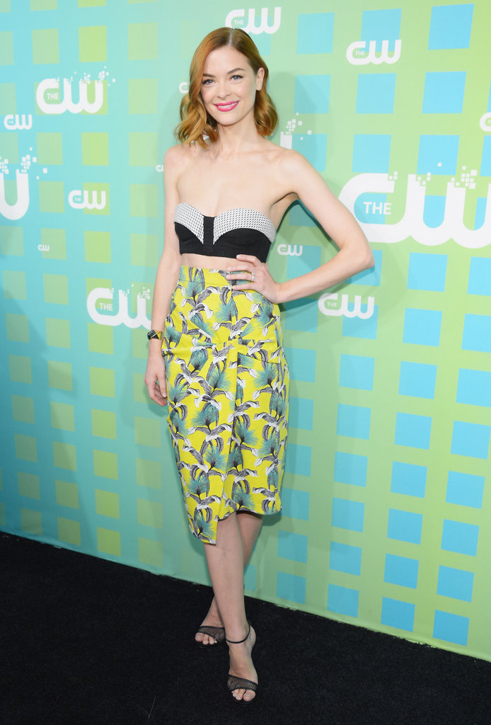 Jaime King wore bright yellow to the CW Upfront in NYC.
