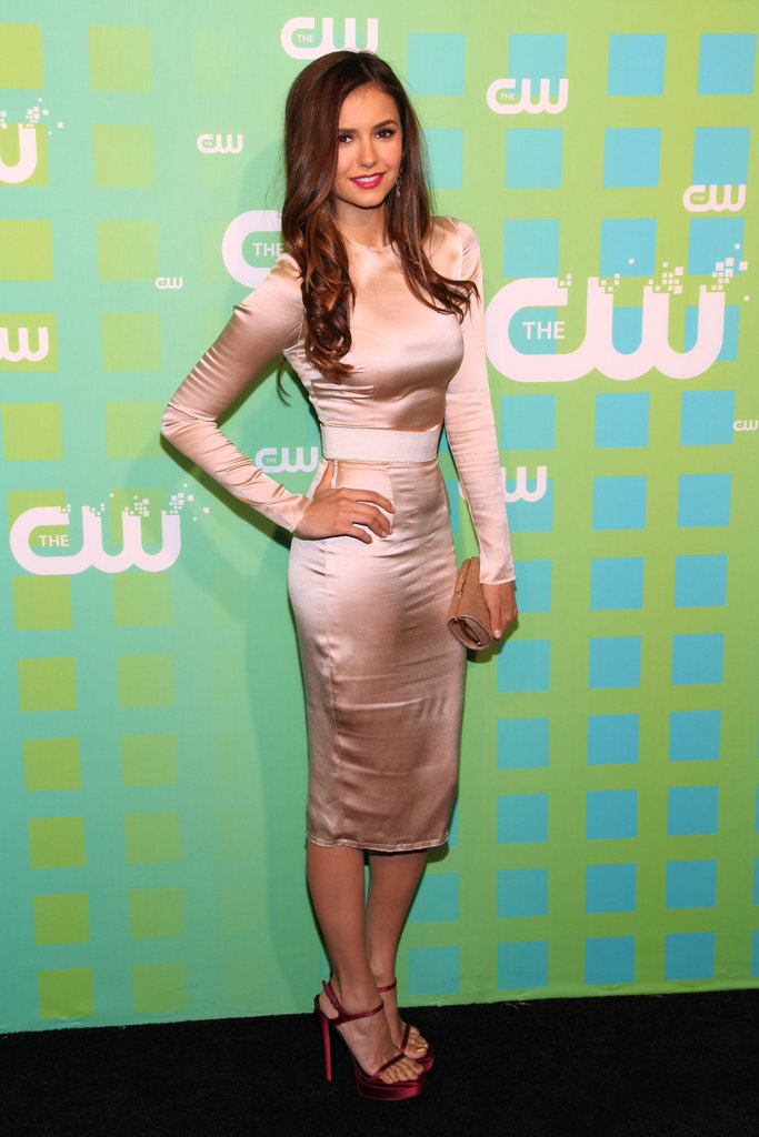 Nina Dobrev wore a gorgeous long-sleeved dress.