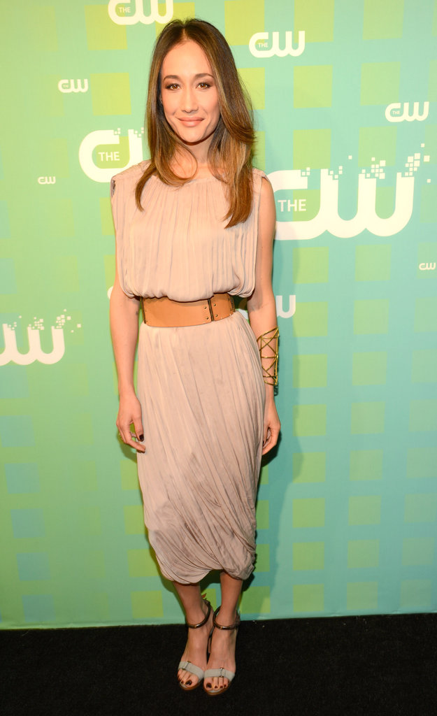 Nikita's Maggie Q wore a neutral ensemble for the CW Upfront soiree.