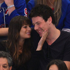 Lea Michele and Cory Monteith Kissing Pictures at Hockey Game
